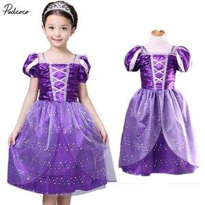 Neue Art und Weise reizende Cosplay Kleidung Prinzessin Tangled Stage Show Kleid Cape Kinder Halloween Kostüme Geburtstags-Geschenke Produkte für Mädchen