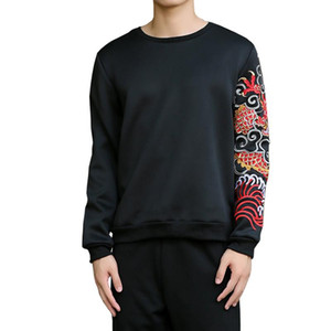 2017 New Chinese Red Dragon Sweatshirt Männer Stickerei Sweatshirt homens moletom masculino poleron hombre Männlich