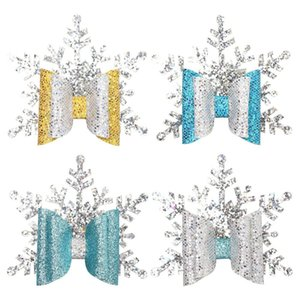 Clip di capelli di scintillio di Natale l'arco per le ragazze a mano doppio strato d'argento del fiocco di neve forcelle del bambino Barrettes Xmas Party Accessori per capelli