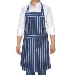 azul listrado clássico avental engrossado algodão mancha escura puro resistentes sala de jantar avental de trabalho