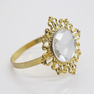 Nouvel anneau de serviette or-clair pour les mariages Party Hotel Banquet Dîner Decor 1-50