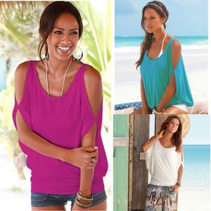 T-shirt donna spalla nuda Top blouse T-shirt a pipistrello allentata aperta con spalle scoperte