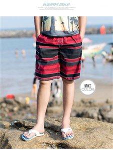 Mens Knee Length Pants Casual Male Clothing Mens Designer Summer Shorts Pants Beach Pocket Striped Drawstring