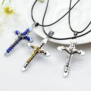 Croix Colliers Jésus-Christ Crucifix pendentif croix catholique en cuir Collier chaîne collier croix beau collier