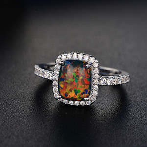 Wholesale-Europe and the United States new simple multicolor opal opal ring fashion big inlaid zircon jewelry