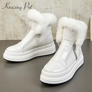 pote Krazing cuero genuino plataforma de punta redonda plana mantener caliente botas de nieve de la piel del conejo de protección decoración fría chinita chica L15 MX200324