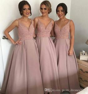 Onur Elbise Of Köpüklü Allık Pembe Gelinlik Modelleri V Yaka Kolsuz Yüksek Düşük Ağır Boncuklu Genç Ülke Gelinlik Modelleri Uzun Hizmetçi