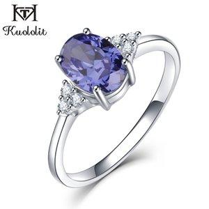Kuololit Твердые 925 серебряные кольца для женщин Создан Tanzanite Драгоценное кольцо Свадьба Обручальное Группа Fine Jewelry Новый J190709