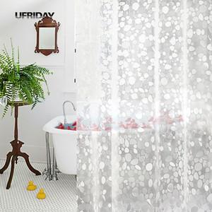 UFRIDAY PVC 3D Waterproof Shower Curtain Transparent White Clear Bathroom Curtain  Bath With Hooks Bath Screen New