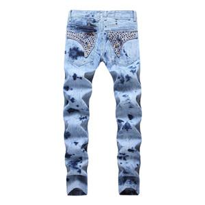 2019 venda quente Mens Hetero Slim Fit Biker Jeans Com Zip homens s vestuário Distrressed Buraco streetwear do estilo de luxo Robin Jeans