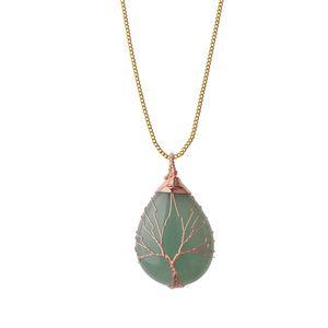 Ciondolo collana albero di vita wire wrap goccia acqua naturale gemma pietra fai da te creazione di gioielli