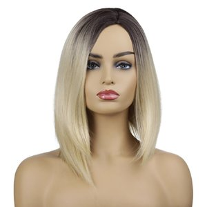 New design hot sale no glue blond short straight hair wig with baby hair synthetic gradient blond lace front wig for women heat resistant