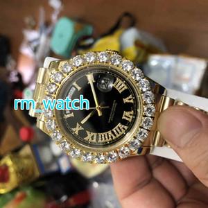 최고 품질 프롱 세트 다이아몬드 손목 시계 43MM 골드 스테인레스 스틸 자동 기계 남성용 큰 다이아몬드 시계