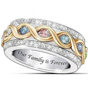 Our Family is Forever Classical Fashion Jewelry 925 Sterling Silver Colorful 5A Zircon Promise Party Women Wedding Engagement Band Ring Gift