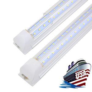 8FT светодиодный магазин светильника, 8-футовые светодиодные фонари, 96 '' T8 Integrated LED пробирки, соединяемые для гаража, склада, 72 Вт 100 Вт, четкий объектив