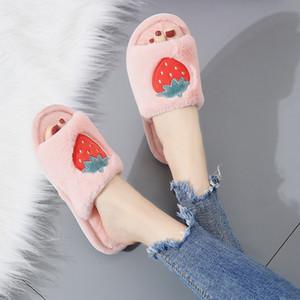 Moda Outono e inverno nova palavra fruto chinelos de lã macia menina antiderrapante fundo plano chinelos casa de algodão coreano mulheres por atacado