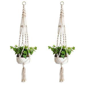 Crochet support à plantes Pot de fleurs à la main Knitting naturel Beaux Corderie Planteur Porte-panier jardin Balcon Décoration