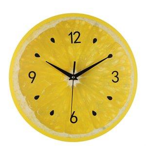 الفاكهة الصفراء ساعة الحائط الجير الحديثة المطبخ على مدار الساعة ووتش ديكور المنزل غرفة المعيشة الفاكهة الاستوائية جدار الفن الساعات