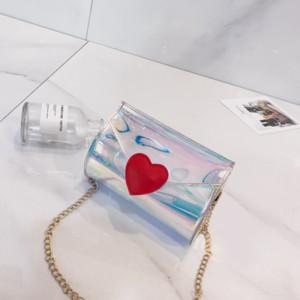 MANFUNI Harajuku Estilo de hombro transparente Laser Love monedero bolsa de mensajero de 2019 muchachas de la moneda Mini llave cuadrada bolsa