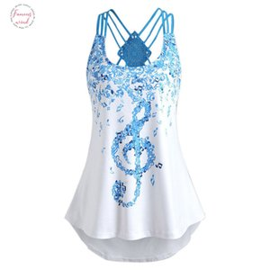 Ladies Bandages Sleeveless Vest Top Musical Notes Print Polyester Strappy Tank Tops Fashion Loose Sleeveless Tank Tops T Shirt Waste 20