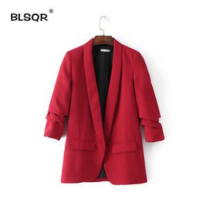 BLSQR Red Chiffon formal da Blazer Mulheres de negócio Terno de Slim manga longa terno ternos revestimento Escritório Roupas Femininas
