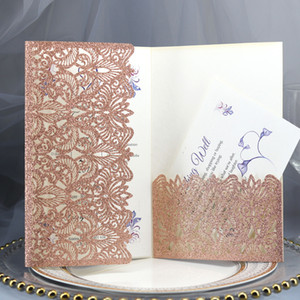 진심으로 초대 - 핑크 주년 기념 달콤한 열 여섯 카드 RSVP 카드 레이저 컷 초대 골드 반짝이 포켓 결혼식 초대장