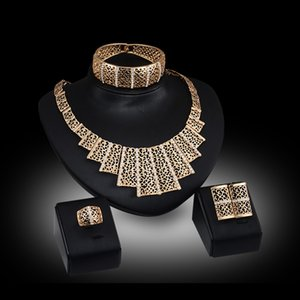 Rings Bangles Necklaces Earrings Jewelry Sets Women Fashion Rhinestone 18K Gold Plated Hollow Out Wedding Jewelry 4-Piece Set JS031