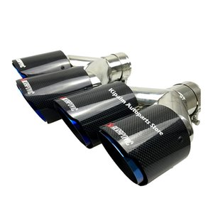 Çift Karbon Fiber + Paslanmaz Çelik Burnt Mavi evrensel oto Akrapovic egzoz İpucu çift sonu Boru BMW BENZ VW Golf için