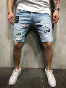 Nueva Mens del verano retro pantalones cortos de mezclilla rasgado remiendo de los pantalones cortos de algodón longitud de la rodilla para Hombre Nuevo