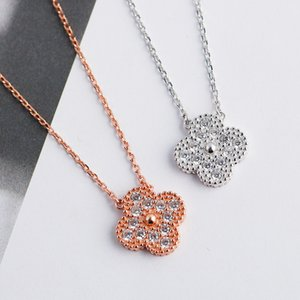 Clover necklace S925 sterling silver necklace female European and American new pendant set diamond necklace accessories
