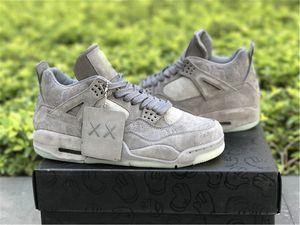 Nike Air Jordan 4 x KAWS Basketball shoes 2020 Ar Authentic Shoe 4 X KAWS Cinza frio Branco Brilho Na obscuridade dos homens tênis de basquete ao ar livre Sneakers 930155-003
