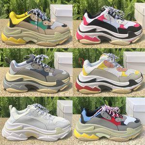 High Quality Designer Triple S Mode-Plattform Männer Frauen Old Dad Schuhe Schwarz Weiß Lace Up Leder-beiläufige flache Schuhe Luxus-Turnschuhe