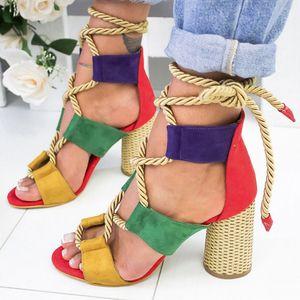 Sandalias de mujer Alpargatas de cuña Zapatos de verano Mujer 5CM Tacones altos Gladiador sexy Tacones de mujer Sandalias Plataforma con cordones