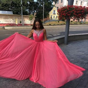 Glitter Beading Chiffon Prom Dresses For Teens 2020 Watermelon Red Evening Partido Vestidos Para Mulheres Long Moda Vestido de festa