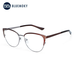 Toptan-BLUEMOKY Gözlükler Çerçeve Kadınlar Metalik yuvarlak gözlük Transp Gözlük Vintage Vintage Kadınlar Gözlük 2019 1814