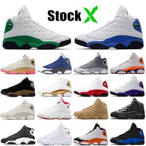Высокое качество нового Мужчины Женщины Баскетбол обувь Лаки Green Hyper Royal Blue тренеров Jumpman 13 Марка площадка Phantom Дизайнерские кроссовки