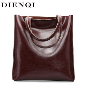 DIENQI Real Genuine Leather Handbags Big Women Tote Bags Female Fashion Designer High Quality Office Ladies Shoulder Bags 2020 T200620