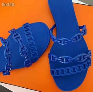 Summer WOMAN Designer-Flip-Flops Rivage Mit Chaine D'Ancre-Motiv geschliffenes Riemchen Silhouett H Slipper Solide Flascher Absatz Slipper