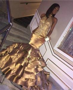 Bling Bling Oro Vestidos de baile Sirena 2019 Cuentas de Crystal Tiers Satén África Concurso árabe Dubai Vestidos de fiesta largos formales Vestido de noche