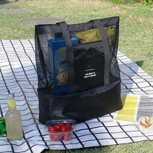 promotion Big !! sacs à main de femmes sacs de plage d'été grands sacs à bandoulière Gaze mesh double couche pique-nique Sac de rangement