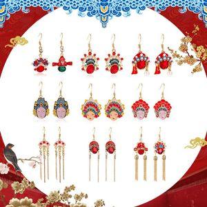 Cinese stile retrò cristallo Opera di Pechino maschera collana pendente delle donne insieme dei monili mascherina di opera Anello orecchini collana di gioielli da sposa Fit