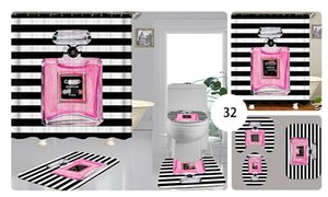 Su geçirmez Perde Tuvalet Seat Perde Ev Banyo Ismarlama Parfüm Şişesi Ptrinting Duş Seti 3piece Banyo Aksesuarları Kapaklar