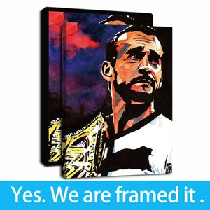 Framed Artwork Gold Belt Champion Portrait Oil Paintings HD Print on Canvas Wall Art Paintings Picture Poster for Home Decor