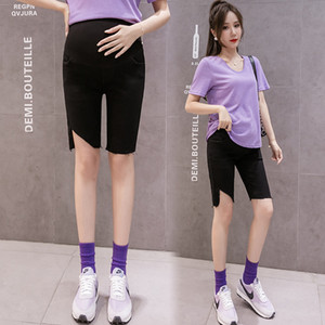 8898# Maternity Pants Summer denim Solid Color Support Abdomen Elastic Waist Belly Support Pants Maternity Trousers