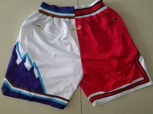 New Shorts Team Shorts 1997 Les finales Vintage Baseketball Short Zipper Pocket Running Vêtements Blanc et Rouge Splite Juste Fait Taille S-XXL