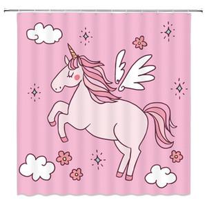 Мультфильм Единорог Радуга детские занавески для душа розовый довольно декор ванной водонепроницаемый полиэстер банные принадлежности занавески для душа 69 х 70 дюймов
