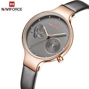 NAVIFORCE Women Watches Top Brand Fashion Female Quartz Wrist Watch Ladies Leather Waterproof Clock Girl Relogio Feminino