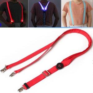LED Jartiyer 2.5 * 110 CM aydınlık Jartiyer klipsli yetişkin Elastik erkekler Için 3 klip Ayarlanabilir Parantez 3 Renkler Yortusu Noel hediyesi