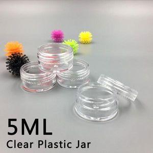 5ML / 5Gram Пластиковой Cosmetic Контейнер Jar Резьбовая крышка Mini Слейте Clear Горшок Eyeshadow Lip Balm Гвозди порошок Beads Jewelry крем воск бутылку