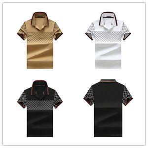 2019 Италия дизайнера бренда поло рубашки Роскошные футболки змея пчелиной цветочной вышивкой MENS Polos High уличной моды полосой печати поло футболки 25